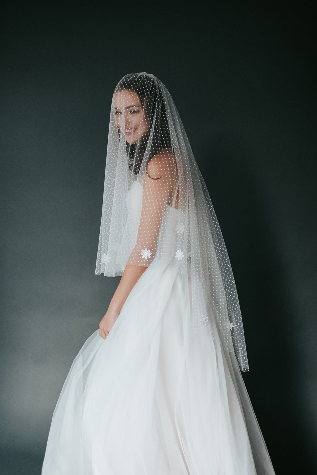 Polka Dotted Mid-Length Floral Veil (No.15)