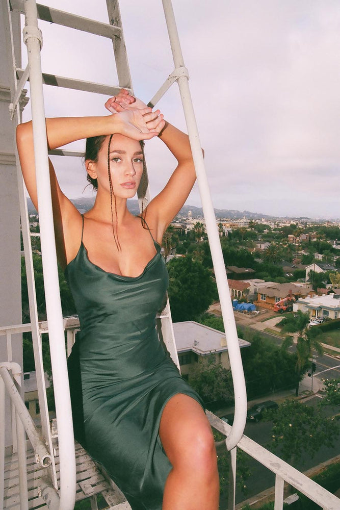 EMERALD BOMBSHELL MIDI SLIP DRESS