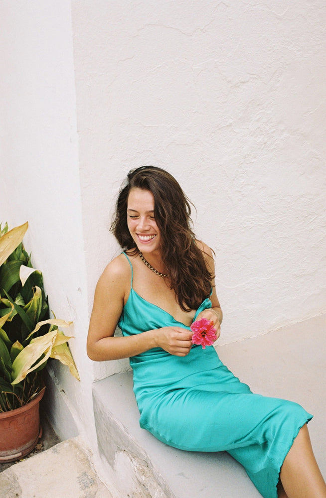 Bombshell Slip Dress - Turquoise Green