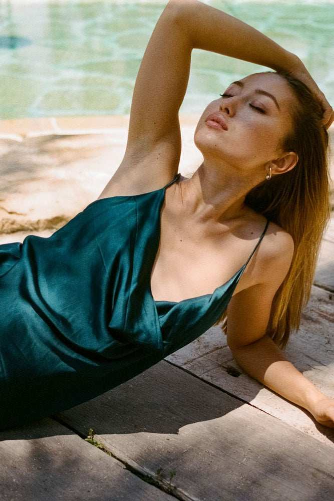 Bombshell Slip Dress - Peacock