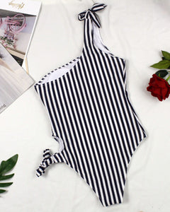 Black And White Stripe Back Cross One Piece Swimsuit - GLENDA