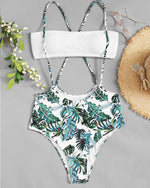 Split Swimsuit Leaf Print Sexy Strap High Waist Bikini Set - GLENDA