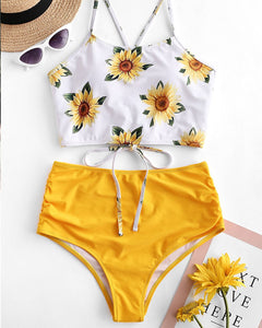 Ruched Sunflower Crop Top Bikini Set Criss Cross - GLENDA