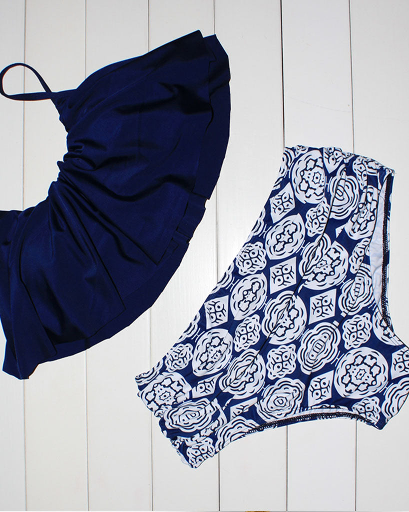 Ruched High Waisted Ruffle Bikini Set In Navy Blue - GLENDA