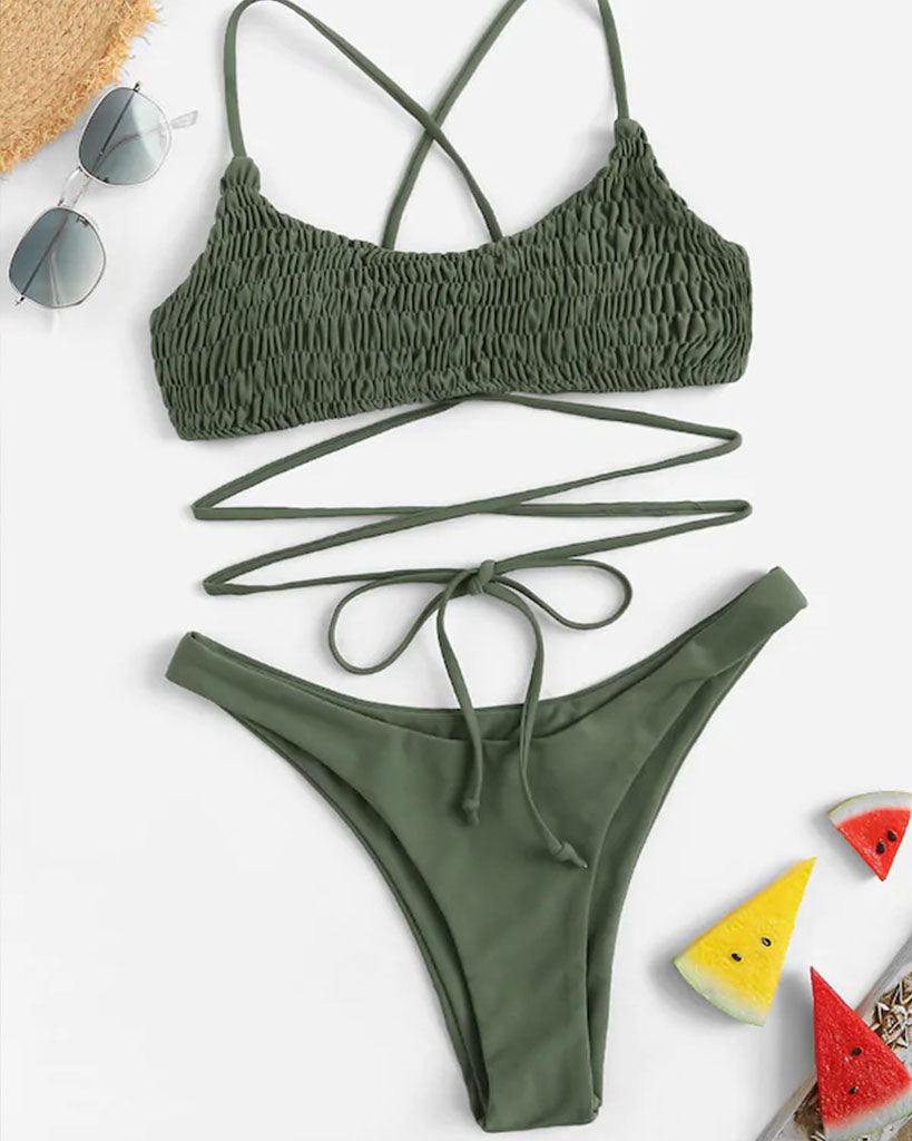 Halter Top Coconut Tree Bikini Set With Lace Up At Back - GLENDA