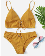 Cute Yellow Scallop Triangle Bikini Set With Halter Top - GLENDA