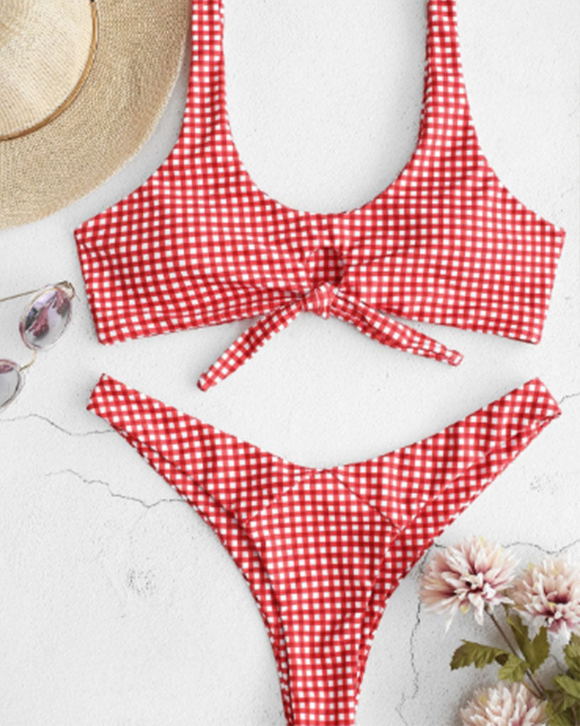 Cute Smocked Pink Bandeau High Cut Bikini - GLENDA