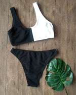 Black And White Colorblock High Cut Bikini Set - GLENDA