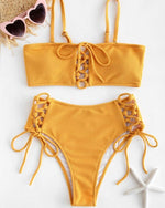 Condole belt Lace Up Front Yellow Bikini Set - GLENDA