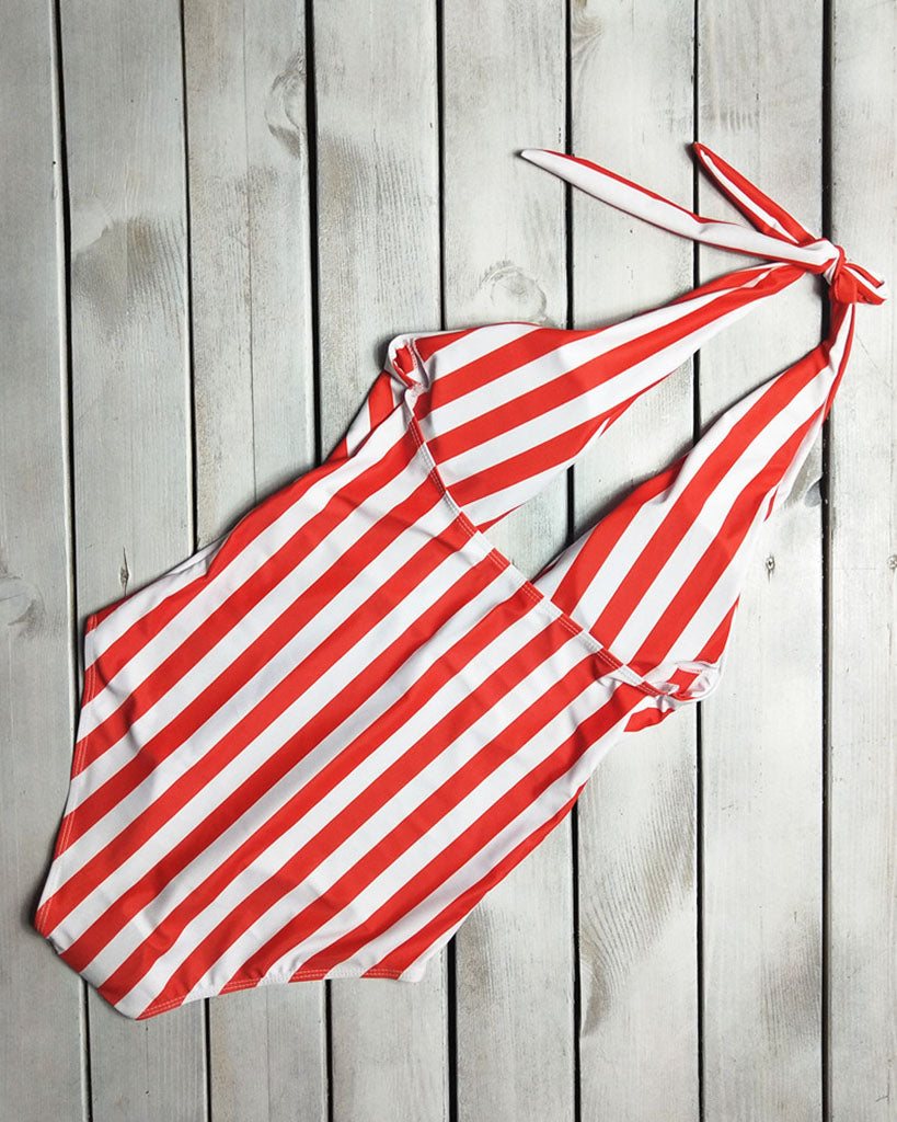 Cross Stripe Cut-Out One Piece Swimsuit - GLENDA