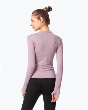 Gym Slim Red Long Sleeve Sportswear Yoga Wear - GLENDA