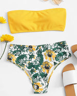 Bandeau Flower Print High Waisted Bikini - GLENDA