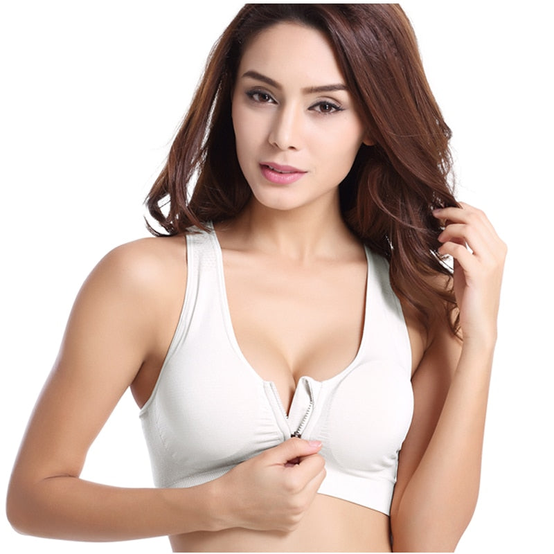 Women Zipper Push Up Sports Bras,Padded Breathable Sports Tops - GLENDA
