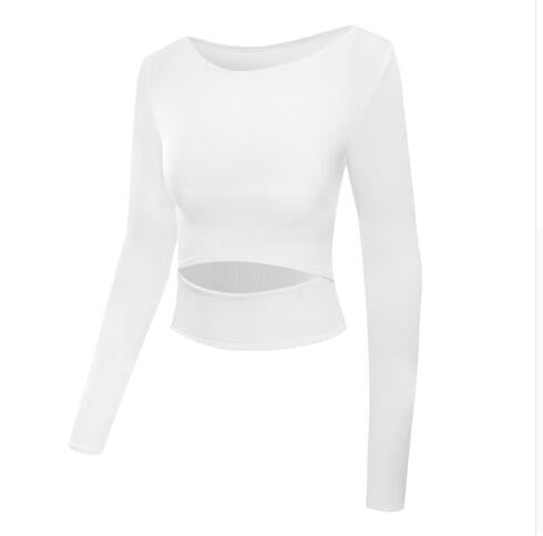 Women Gym Sexy White Yoga Crop Tops Yoga Shirts Long Sleeve Sport Tops - GLENDA
