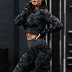 Camouflage Set Women Sport Suit Gym Workout Clothes Fitness Top Leggings - GLENDA
