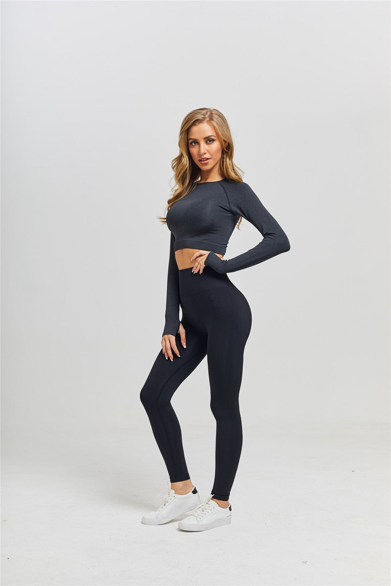 GYM HIGH WAIST LEGGINGS CROP TOP SPORTSWEAR - GLENDA