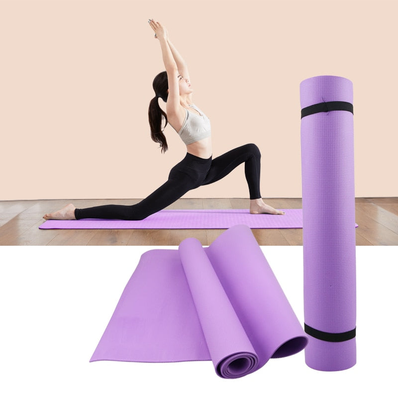 Gym 4MM PVC Yoga Mats Anti-slip Blanket PVC Gymnastic Sport Health Lose Weight Fitness Exercise Pad Women Sport Yoga Mat - GLENDA