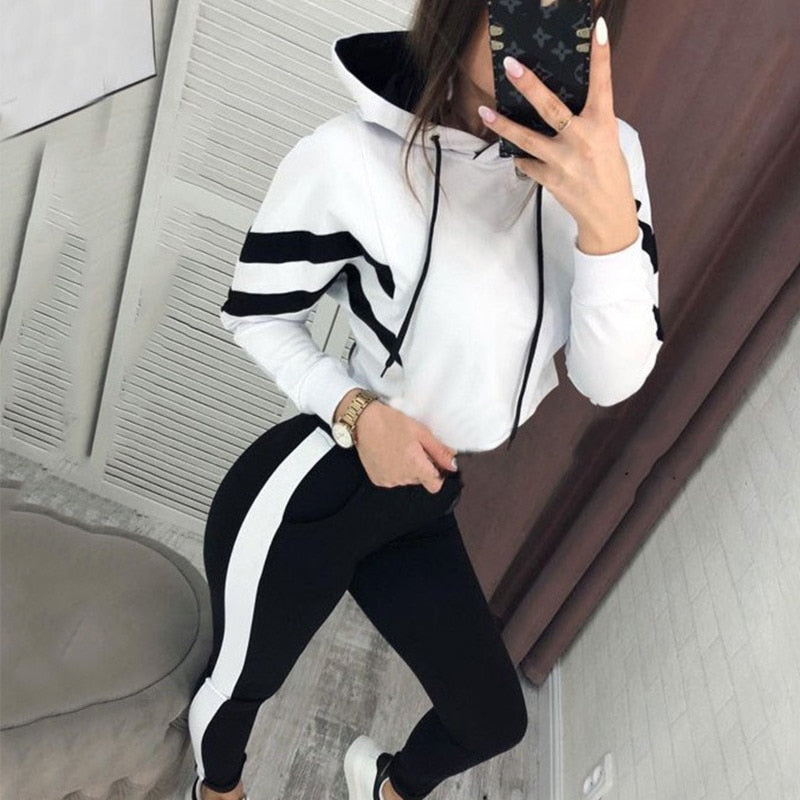 STRIPED HOODED TRACKSUIT FOR WOMEN - GLENDA