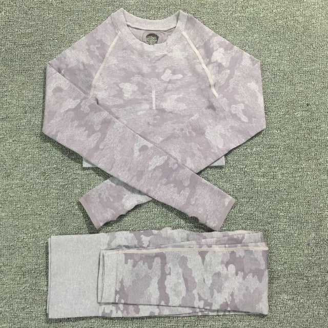 GYM CAMOUFLAGE YOGA SPORTS SET FOR WOMEN - GLENDA