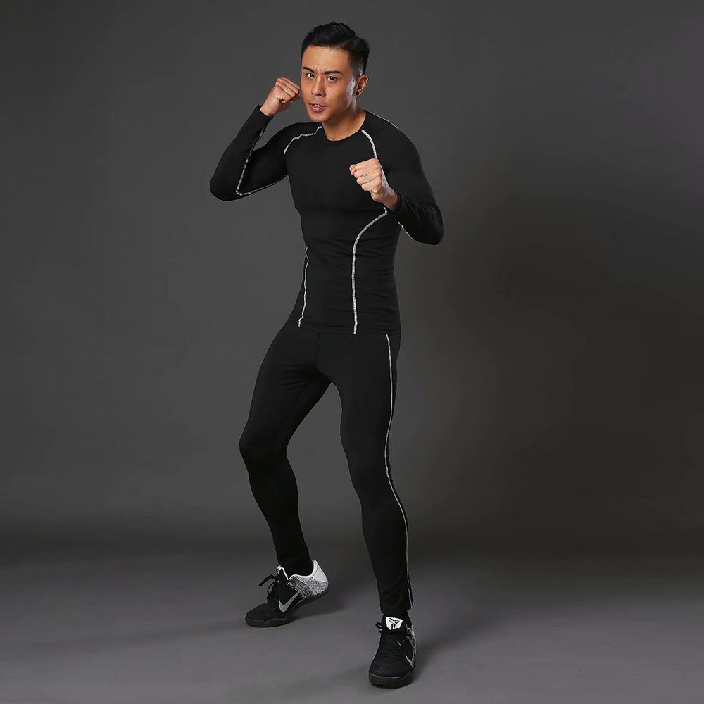 Men's Sports Compression Racing Set T-Shirt + Pants - Skin Tights Fitness Long Sleeve Training Suits Fitness Clothing Yoga Wear - GLENDA