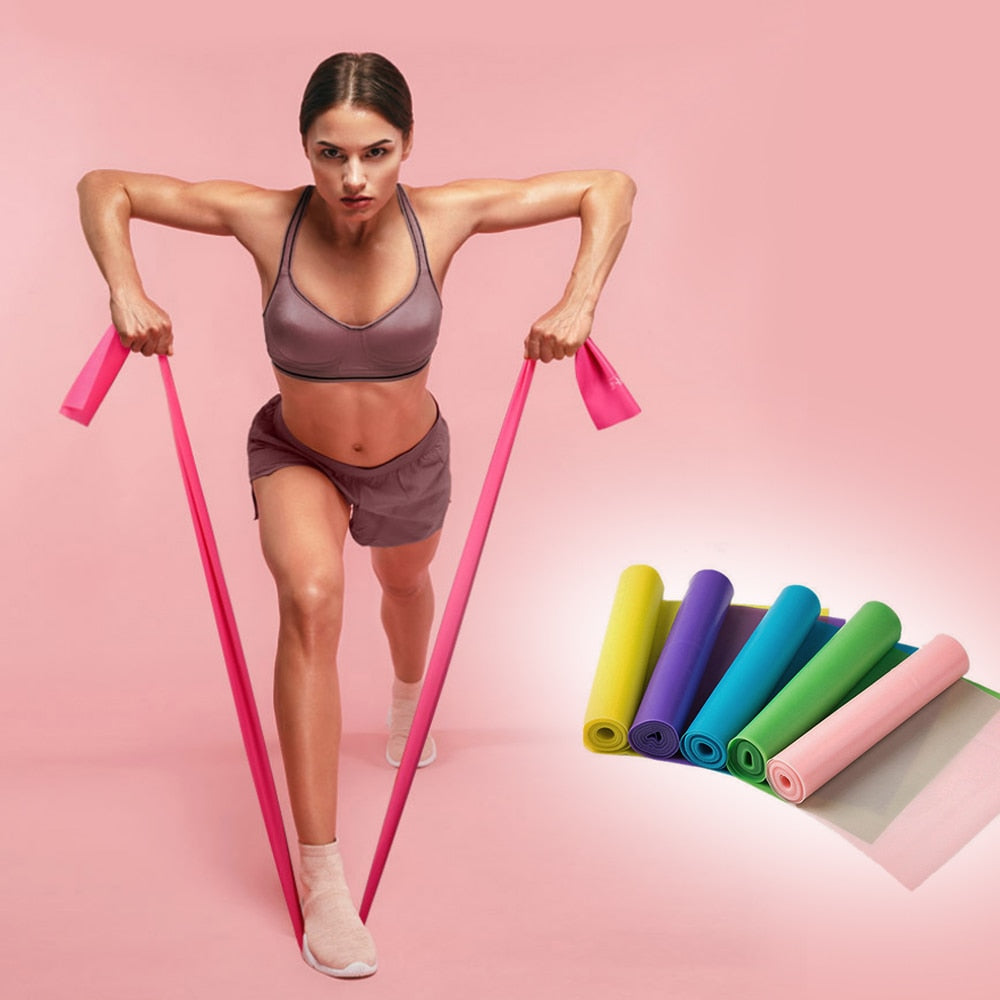 Gym 150/180/200CM Fitness Exercise Resistance Bands Rubber Yoga Elastic Band - GLENDA