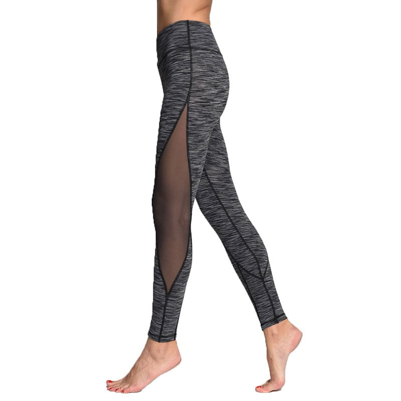 Yoga Leggings for Fitness Women High Waist Slim Nylon Mesh Flex Gym Training Running Tights Woman Fitness Sports Pants Female - GLENDA