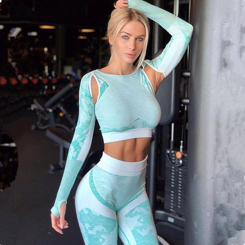 Gym Leggings Push up Sports Crop Tops Shirt Workout Set Tracksuit - GLENDA
