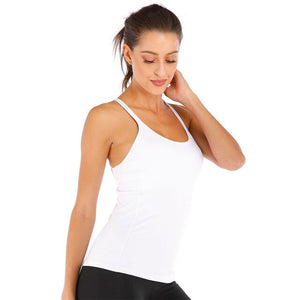 Sports Top for Fitness Women Nylon Basic Wild Color Yoga Gym Top - GLENDA
