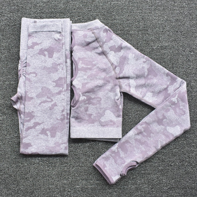 Yoga Set Women Seamless Fitness Sport Yoga Clothing Camouflage - GLENDA