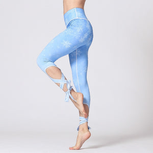 Sweet Flower High Waist Print Fitness Yoga Pants Sport Training Leggings - GLENDA