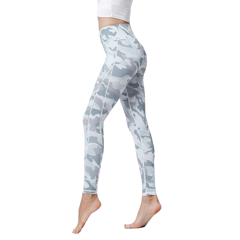 Women Sports High Waist Trousers Printed Stretch Tight Leggings - GLENDA