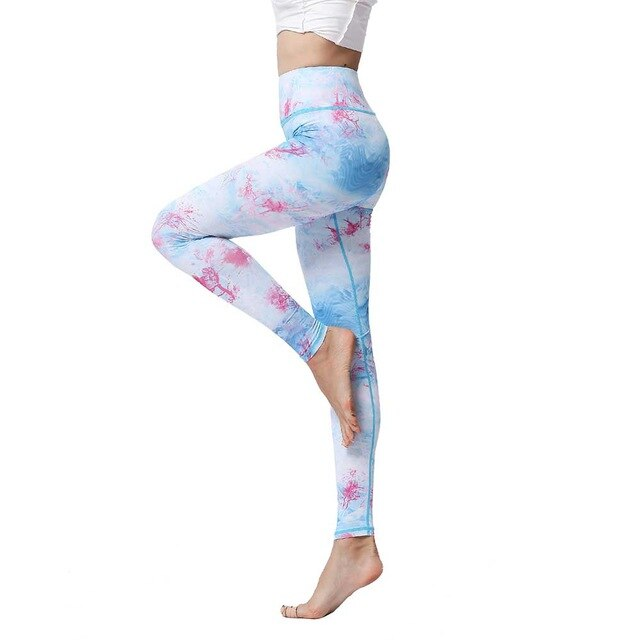 Sports High Waist Trousers Printed Quick Dry Stretch Tight Training Pants - GLENDA