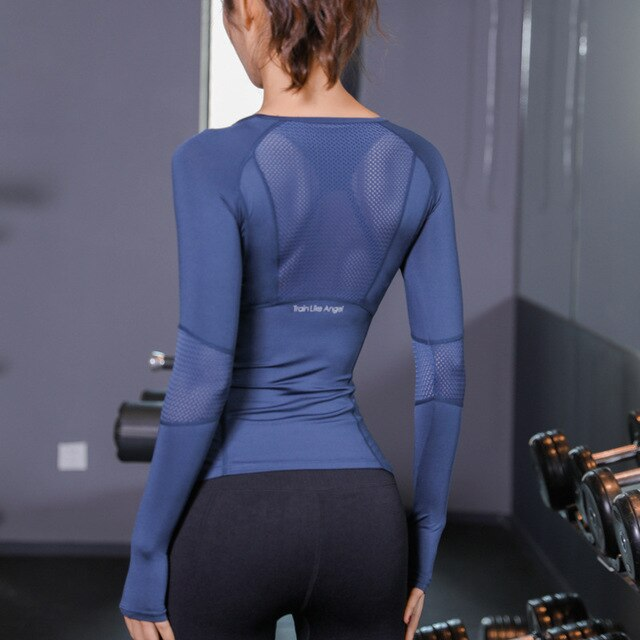 New 2020 Sport Shirt Women Fitness Yoga Black Top Long Sleeve Mesh - GLENDA