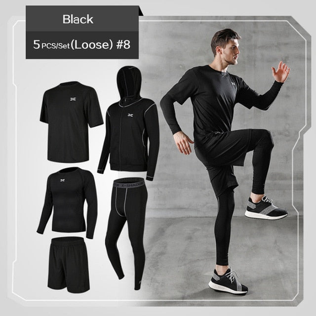 5 Pcs/Set Men's Tracksuit Gym Fitness Compression Clothes - GLENDA