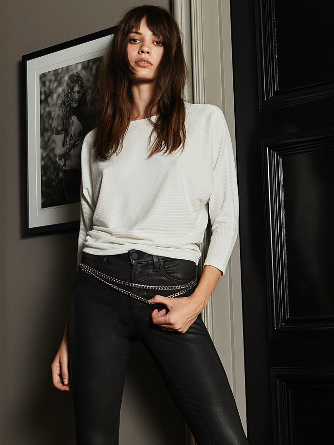 Beth Top in Ivory Margot Coated Jean in Black Coated