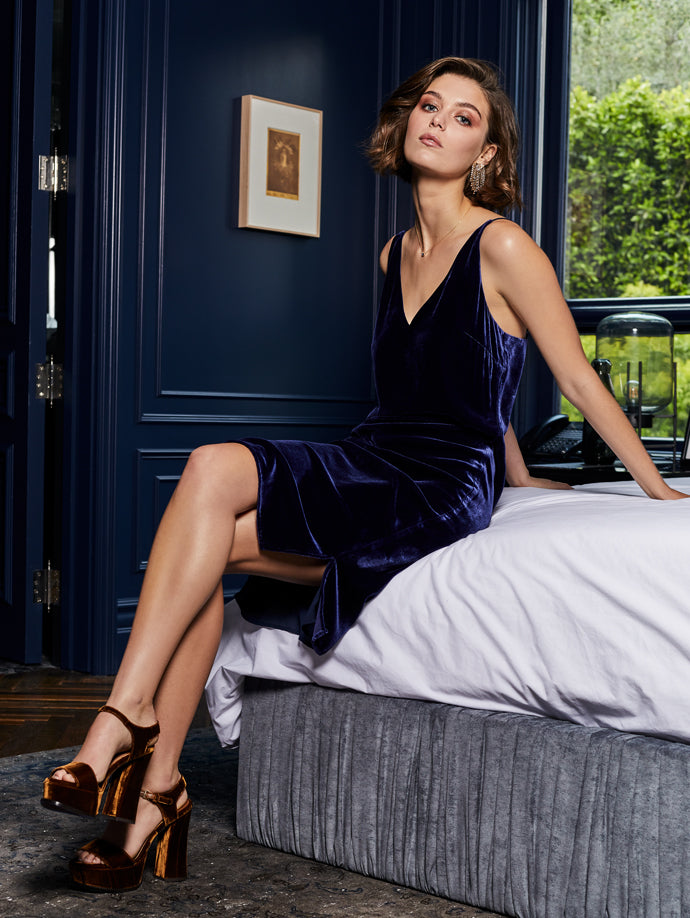 Constance Velvet Dress in Navy