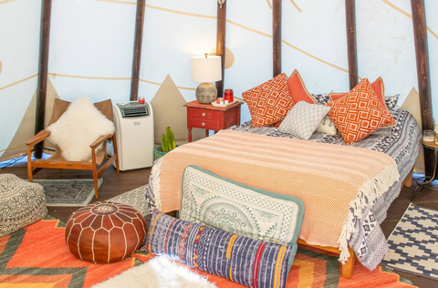 bed in tipi