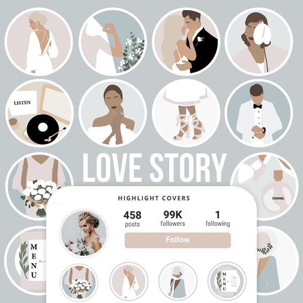 LOVE STORY IG HIGHLIGHT COVERS