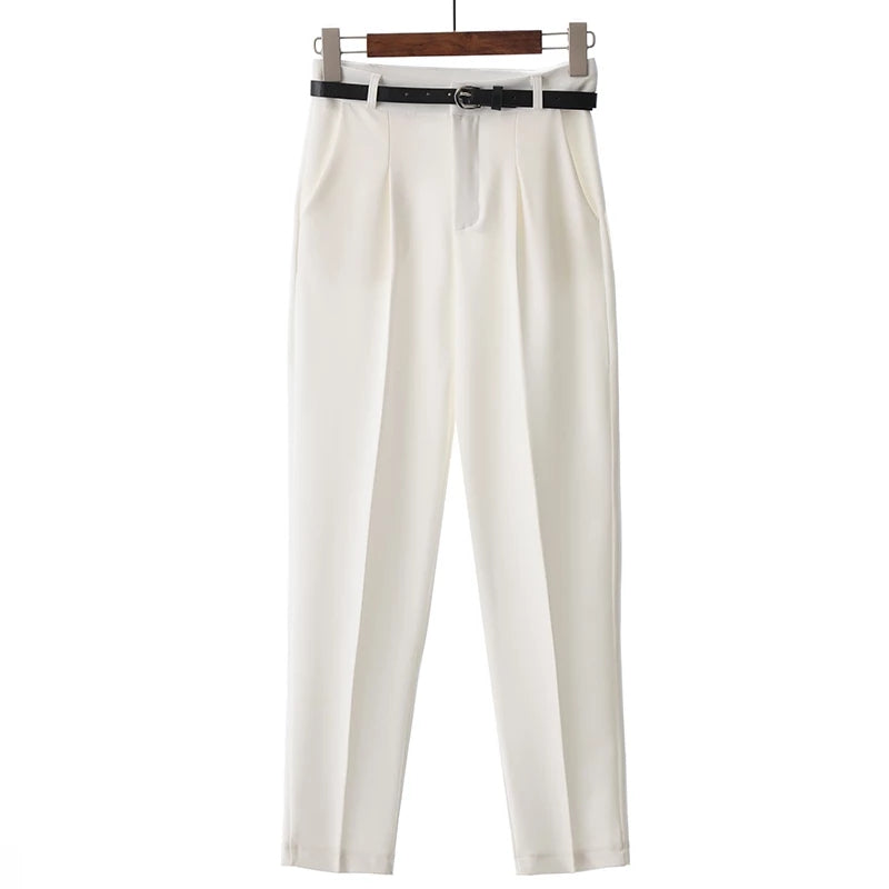High waisted white trousers