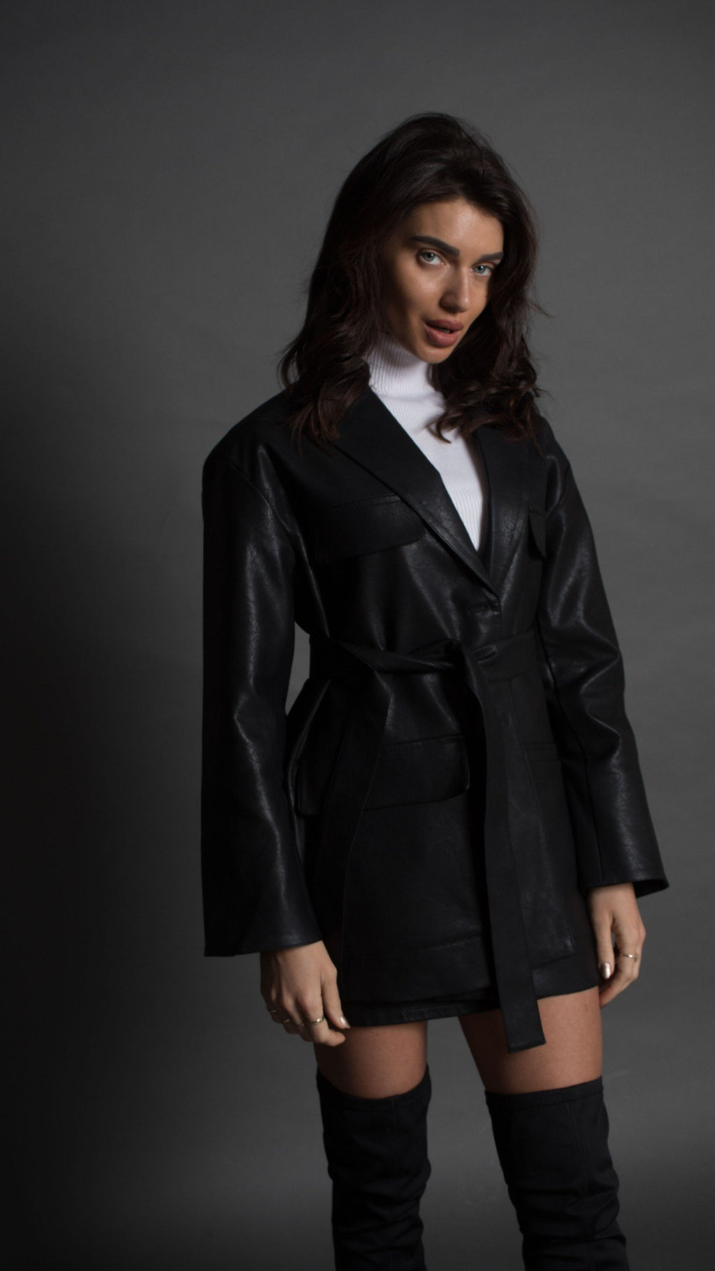 Black vegan leather coat
