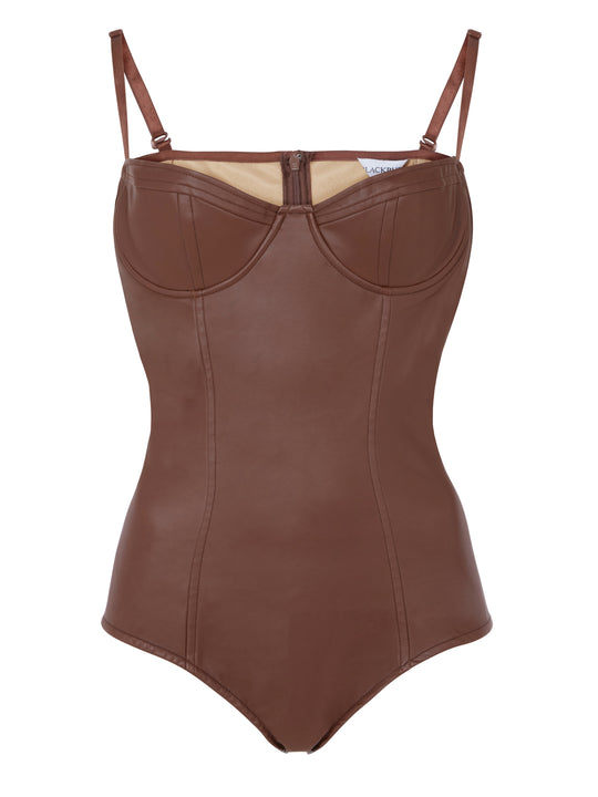 Brown vegan leather Bodysuit (Bianca)