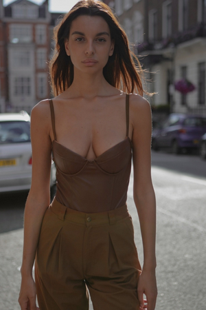 Brown faux leather Bodysuit