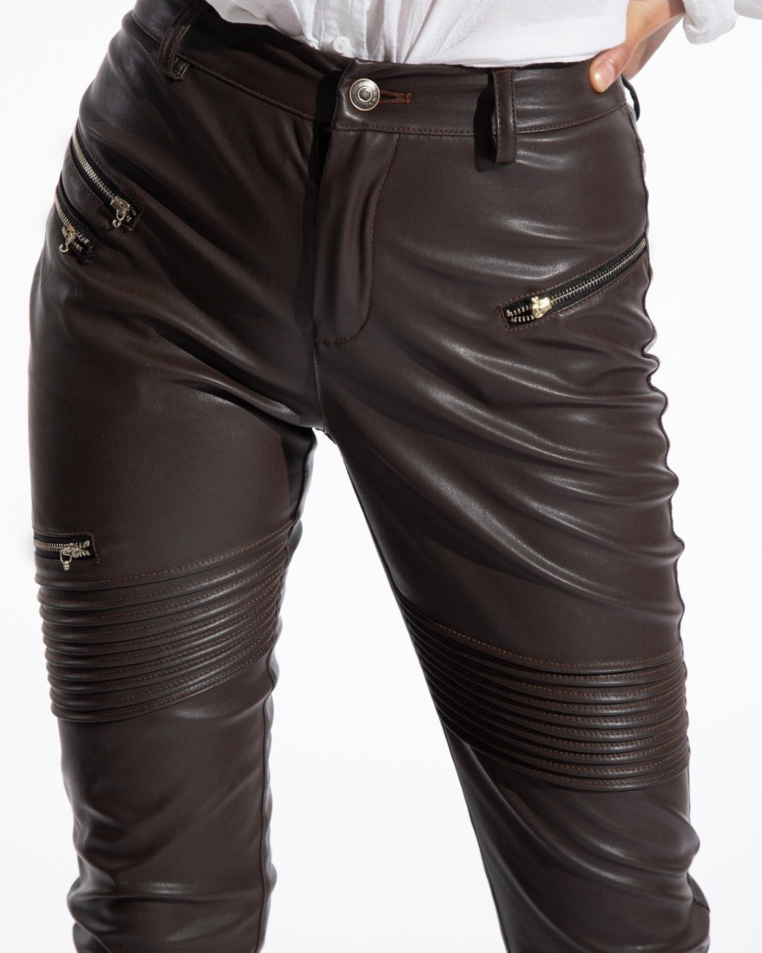 brown faux leather pants