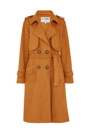 Faux suede trench coat (Kate Barlow)