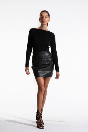 Black faux leather pocket skirt