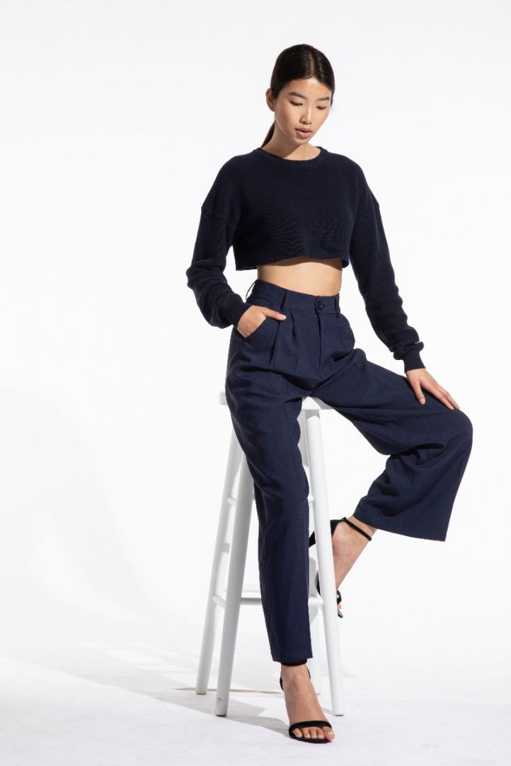 navy wide leg trousers