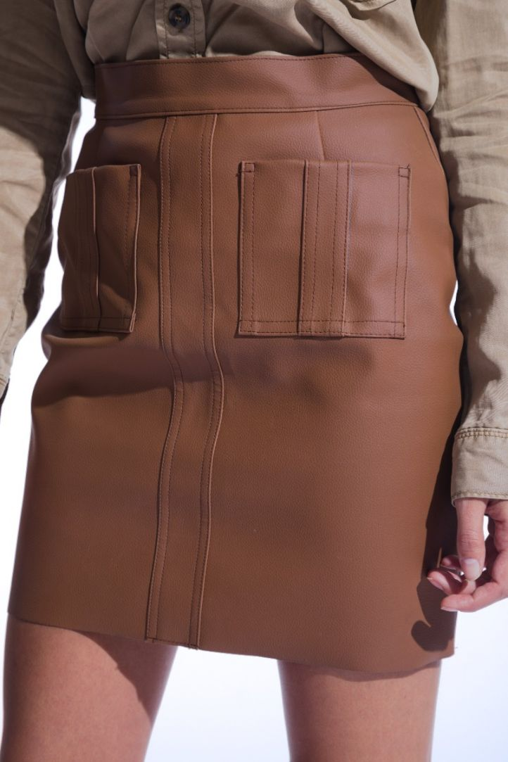 Brown faux leather pocket skirt
