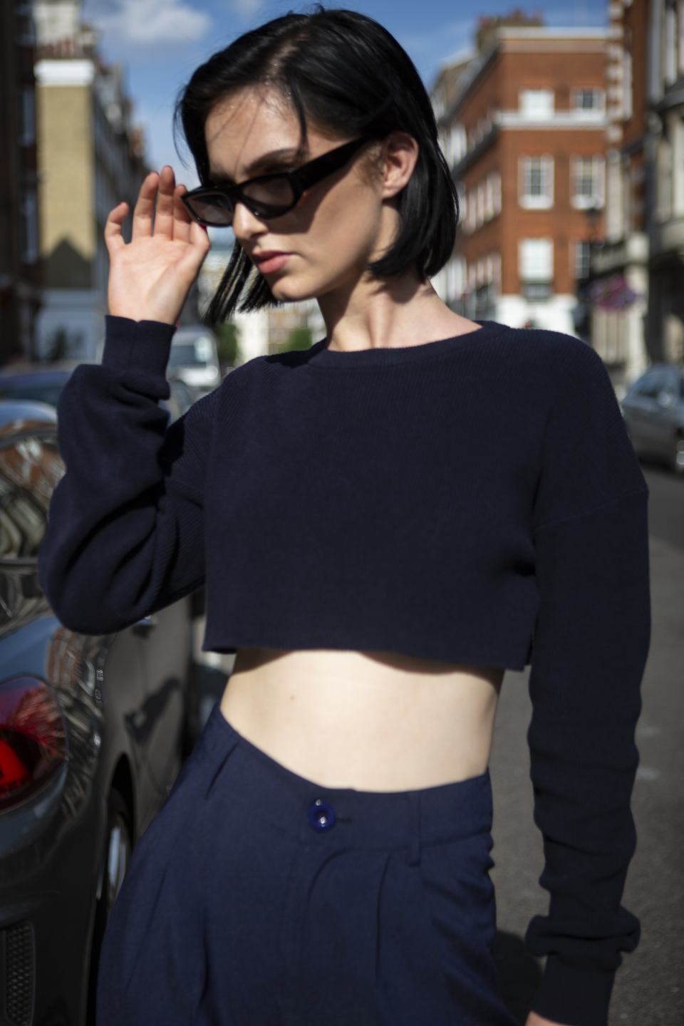Navy blue knit crop top & wide leg trouser set