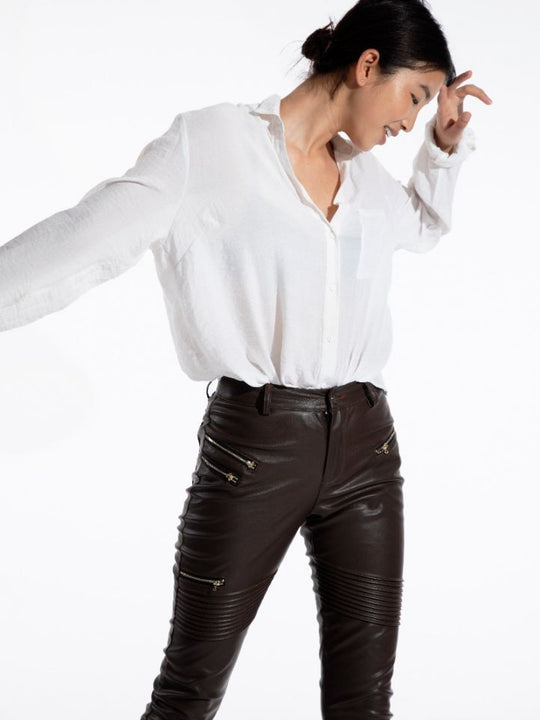 Brown vegan leather pants