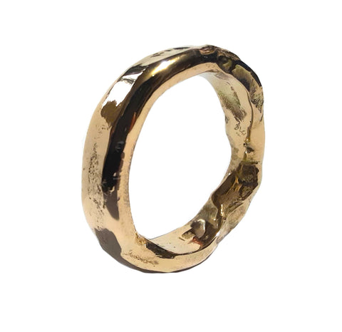 Melted Gold Ring, 18ct, 5mm wide